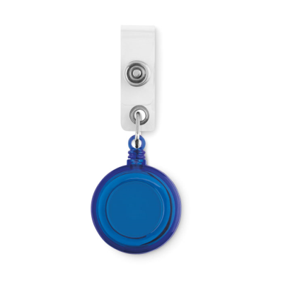 ROUND SECURITY PULL REEL SKI PASS HOLDER in Blue.