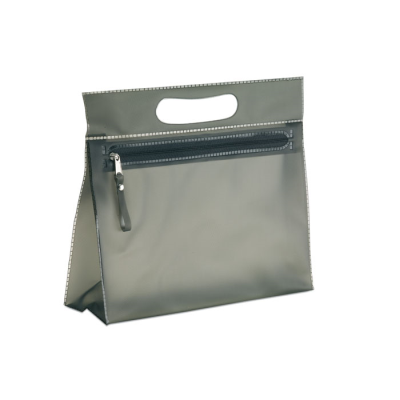 CLEAR TRANSPARENT LADIES COSMETICS VANITY BAG in Black.
