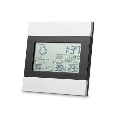 WEATHER STATION & CLOCK in Black & Silver.