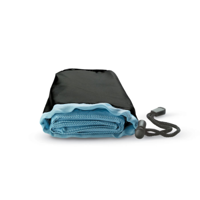 SPORTS TOWEL in Nylon Pouch with Adjustable Closing in Blue.