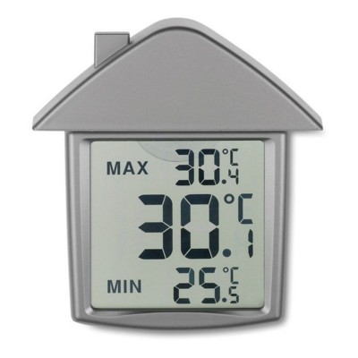 HOUSE SHAPE THERMOMETER in Matt Silver.