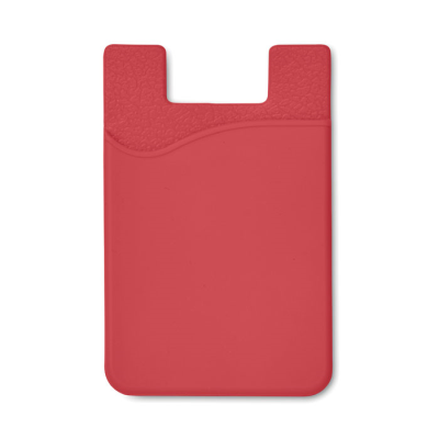 SILICON CARDHOLDER FOR PHONE with 3m Tape in Red.