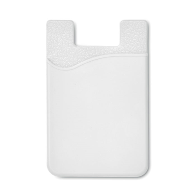 SILICON CARDHOLDER FOR PHONE with 3m Tape in White.
