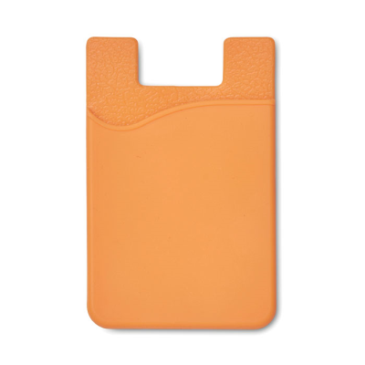 SILICON CARDHOLDER FOR PHONE with 3m Tape in Orange.