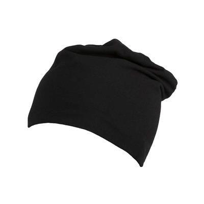 100% ORGANIC COTTON BEANIE in Black.