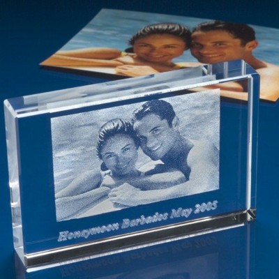 PHOTO CUBE BLOCK ENGRAVED with Unique Photo in Crystal.