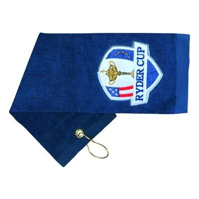 EMBROIDERED COTTON GOLF TOWEL.