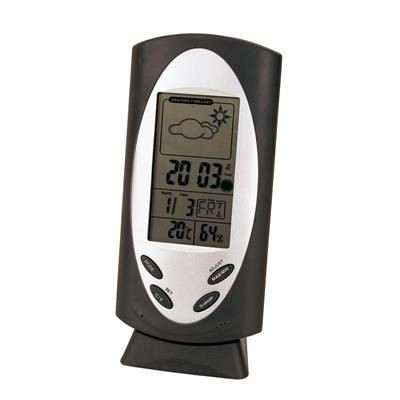 DESK WEATHER STATION CLOCK in Silver.