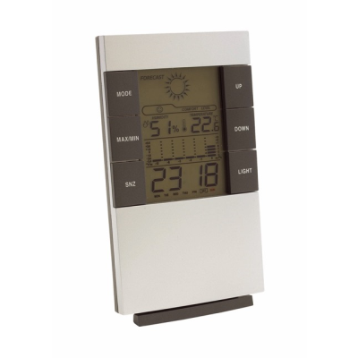 SUNNY TIMES WEATHER STATION CLOCK in Silver & Grey.