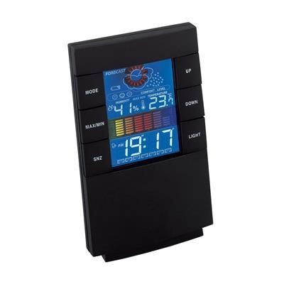 STEALTH WEATHER STATION LCD ALARM CLOCK in Black.