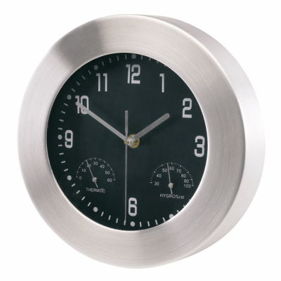 ALUMINIUM METAL SILVER METAL WALL CLOCK WEATHER STATION in Silver.