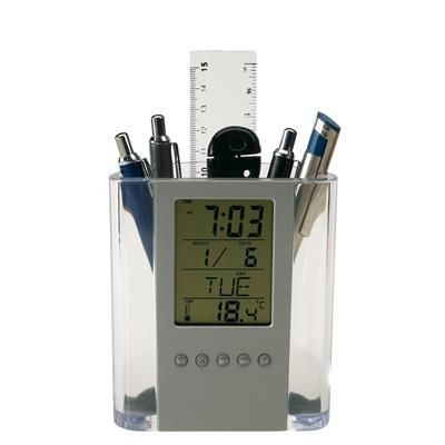 BUTLER LCD ALARM PEN POT HOLDER in Clear Transparent & Silver.