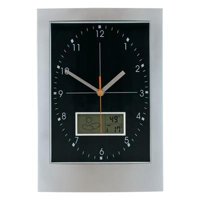 WALL WEATHER STATION CLOCK in Silver & Black.