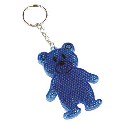 TEDDY BEAR REFLECTOR KEYRING in Blue.