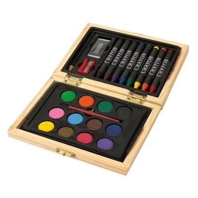 CHILDRENS PAINTING SET in Wood Box.