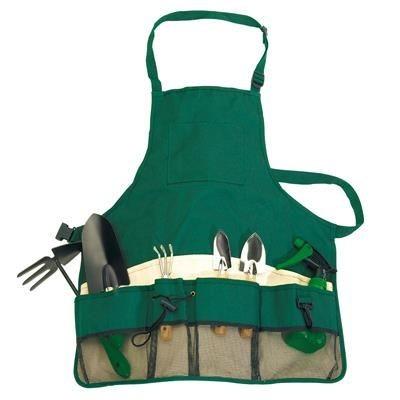 GARDEN APRON with Tools in Green & Beige.