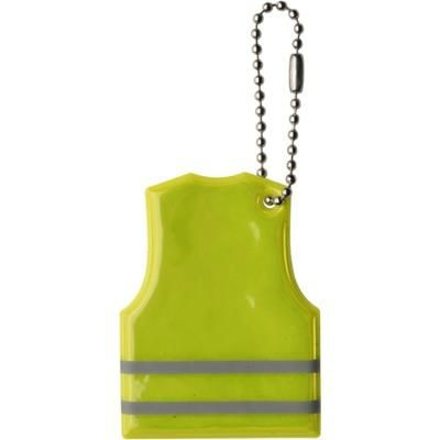 SAFETY VEST SHAPE REFLECTIVE PLASTIC KEYRING in High Visibility Yellow.