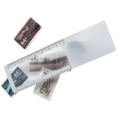 BOOKMARK RULER & MAGNIFIER in Translucent White.