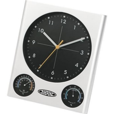 TOP CLOCK WALL CLOCK, THERMOMETER & HYGROMETER in Silver.