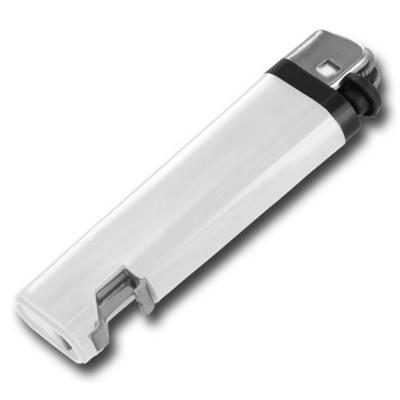 DISPOSABLE FLINT LIGHTER with Integral Bottle Opener in White.