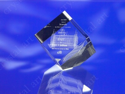 CRYSTAL GLASS CUBE PAPERWEIGHT or AWARD TROPHY with 3D Laser Engraved Image & Logo in Centre.