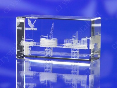 CRYSTAL GLASS RECTANGULAR CUBE PAPERWEIGHT or AWARD TROPHY with 3D Laser Engraved Image & Logo in Ce