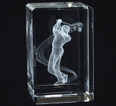 CRYSTAL GLASS RECTANGULAR GOLF PAPERWEIGHT or AWARD TROPHY with 3D Laser Engraved Image & Logo in Ce