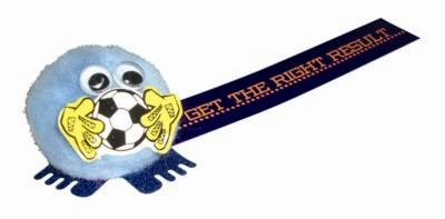 FOOTBALL LOGO BUG with Full Colour Printed Ribbon.