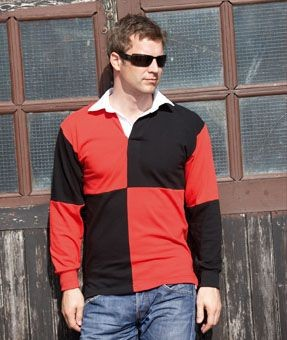 FRONT ROW QUARTERED RUGBY SHIRT.
