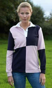FRONT ROW LADIES QUARTERED STRETCH RUGBY SHIRT.