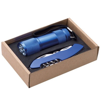 DOVER TORCH AND POCKET KNIFE SET in Blue.