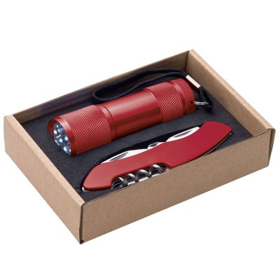 DOVER TORCH AND POCKET KNIFE SET in Red.