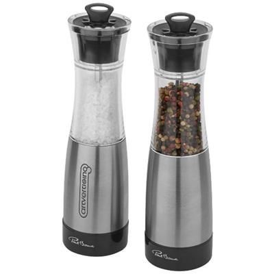 DUO SALT AND PEPPER MILL SET in Silver-black Solid.