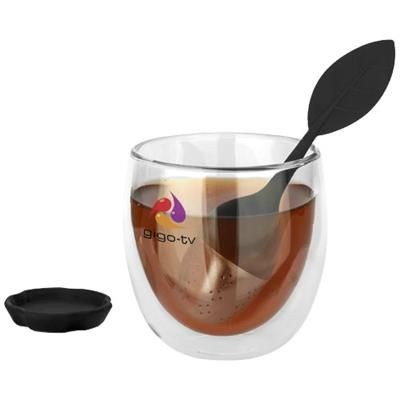 SPRING TEA SET with Strainer & Cup in Black Solid-transparent.