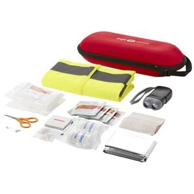 HANDIES 46-PIECE FIRST AID KIT AND SAFETY VEST in Red.
