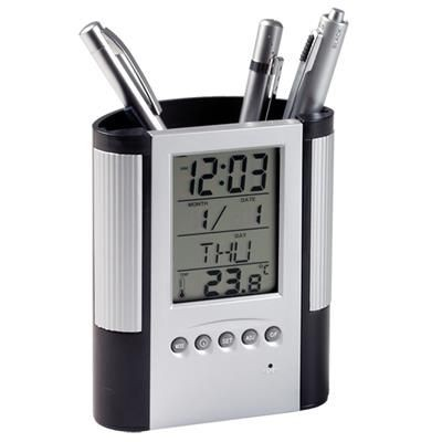 DESK PEN HOLDER with Multifunctions Clock.