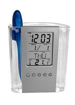 CRISMA ACRYLIC PEN POT & CLOCK.