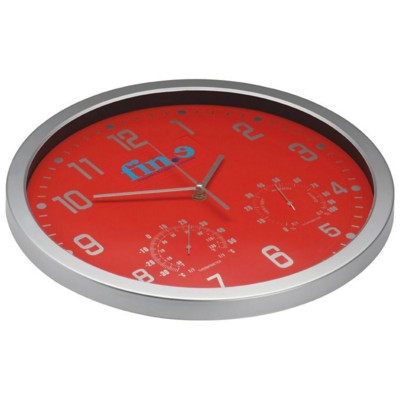 CRISMA STYLISH WALL CLOCK in Red & Silver.
