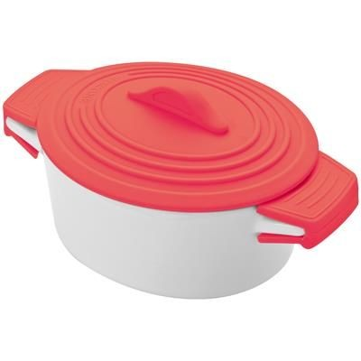 PORCELAIN FOOD POT with Silicon Lid & Heat Protected Handles in Red.