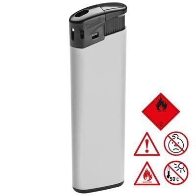 ELECTRONIC PLASTIC LIGHTER in White.