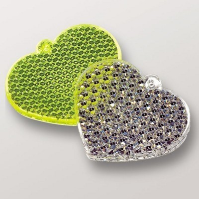 HEART SHAPE REFLECTOR with String & Safety Pin.