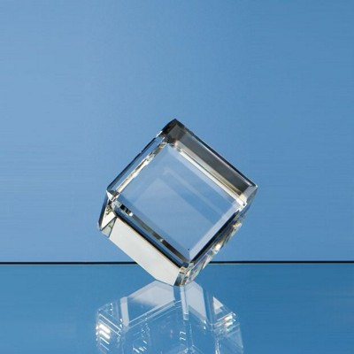 5CM OPTICAL GLASS BEVEL EDGED CUBE.