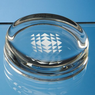 7CM SMALL ROUND GLASS PAPERWEIGHT.