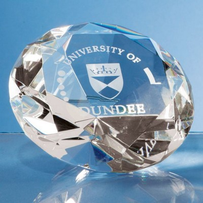 10CM OPTICAL GLASS DIAMOND PAPERWEIGHT.