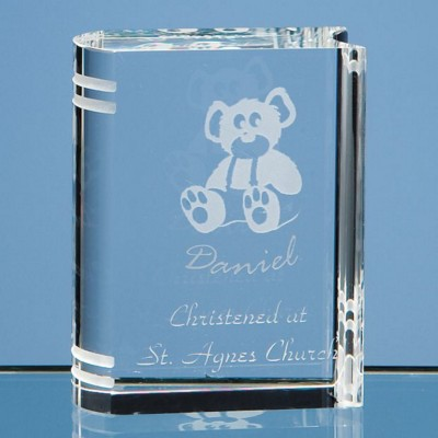6CM OPTICAL CRYSTAL GLASS MINI BOOK PAPERWEIGHT.