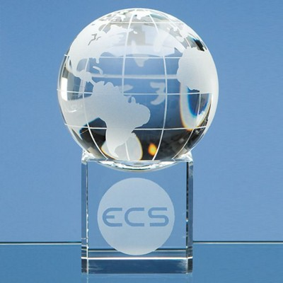 8CM OPTICAL GLASS GLOBE PAPERWEIGHT ON CLEAR TRANSPARENT BASE.