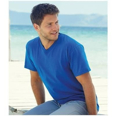 FRUIT OF THE LOOM V NECK VALUEWEIGHT TEE SHIRT.