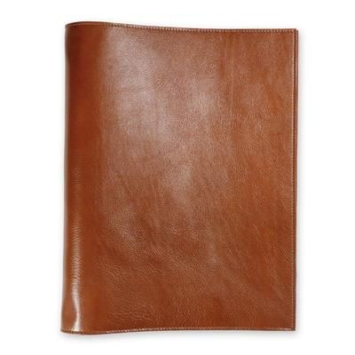 ECO VERDE GENUINE LEATHER NON-ZIPPED A5 RING BINDER in Tan.