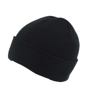 KNITTED SKI HAT with Turn Up in Black.