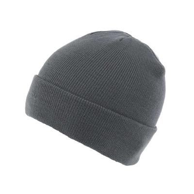 KNITTED SKI HAT with Turn Up in Dark Grey.